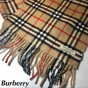Burberry Cashmere Scarf Check Tan